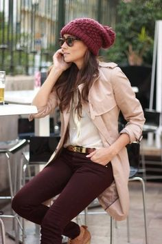 Hip and oh so relaxed! We heart the slouchy knit beanie... #pantone2015 #marsala