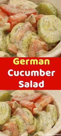 German Cucumber Salad Ingredients: 1/2 cup sour cream or plain yogurt 1 cucumber 1 medium to large tomato 2 slices onion (slice like you would for onion rings) 2-4 tsp lemon juice 1/2 – 3/4 tsp dill Pinch of salt Instructions: 1. Peel and slice German Cucumber Salad, Cucumber Salad Sour Cream, Tuna Salad, Pasta Salad, Vegetable Salad, Vegetable Recipes, Vegetarian Recipes, Cooking Recipes, Plain Yogurt