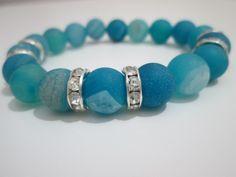Pulsera de Agata azul druza,piedras semipreciosas de Lenajoyas en Etsy