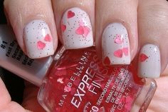 You can achieve this look with a top coat with tiny hearts.