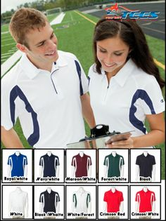 CHAMPION Logo NEW Mens Womens Size S-3XL Color Block Dri Golf Polo Sport Shirts