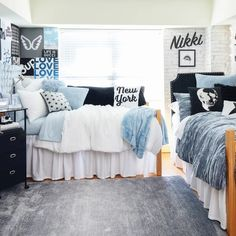 College Bedroom Decor, Cool Dorm Rooms, College Room, Room Ideas Bedroom, Diy Dorm Room, Dorm Room Setup, College Bedrooms, Dorm Room Themes, Dorm Room Colors