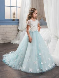 Lace Applique Flower Girl Dresses Blue Princess Pageant Dresses Kids   Wedding Bridesmaid Dresses Butterfly Birthday Ball Gowns 2d8176018f5a