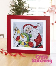 Cross stitch adorable Father Christmas and his snowman pal, The World of Cross Stitching magazine issue 195