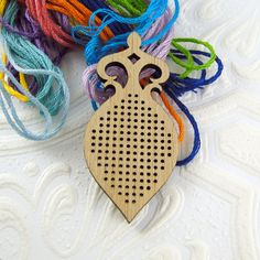 Cross stitch pendant blank Amphora in bamboo by Beadeux on Etsy $8.00