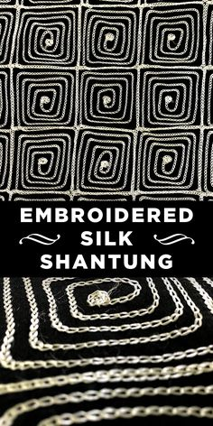 Black Silk Shantung with Embroidered Squares #Apparel #Silks #Embroidery
