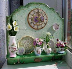 """Купить Панно+часы+вешалка """"Fleurs"""" . - цветы ручной работы, каллы, фиалки, колокольчики, цветочная композиция"""