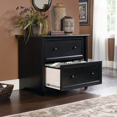 Sauder Edge Water Lateral File Cabinet in Estate Black $185.00 with freeshipping!