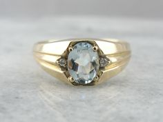 Men's Aquamarine and Diamond Ring from the Retro Era AACA51-D by MSJewelers on Etsy https://www.etsy.com/listing/204441865/mens-aquamarine-and-diamond-ring-from