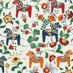 Dalahäst-kangas - beige - Arvidssons Textil