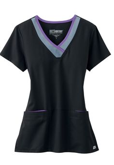 Greys Anatomy Active color block contrast 3 pocket scrub top. - Scrubs and Beyond