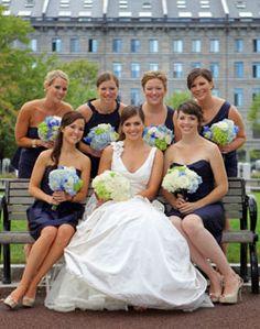 Hydrangea wedding party bouquets.