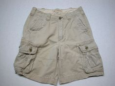 Hollister Men's Distressed Cargo Shorts Tag 30 Beige Cotton ( MEASURE 32 ) #Hollister #Cargo