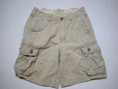 Hollister Men's Distressed Cargo Shorts Tag 30 Beige Cotton ( MEASURE 32 ) #Hollister #Cargo