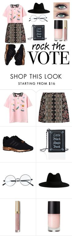"""""""Rock the Vote"""" by ruelalou on Polyvore featuring Valentino, adidas Originals, Current Mood, Yves Saint Laurent, Stila and rockthevote"""