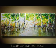 Original Palette Knife Abstract Painting,Modern Textured Painting,Landscape Painting by Chen Size:  24x55x1.2  [60x140x3cm]  Stretched thickness: 1.2