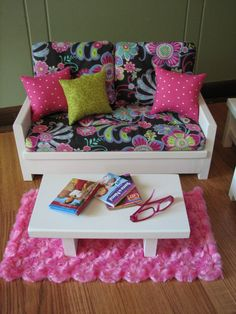 "18"" Doll Furniture - American Girl Sized Living Room - Loveseat / Chair / Coffee…"