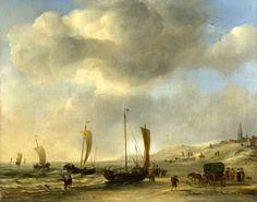 Willem van de Velde de Jonge (1633-1707). Het strand van Scheveningen. Rechts de Oude Kerk van Scheveningen. Een pink is met behulp van ronde houten palen op het strand getrokken. Een aantla pinken komt naar het strand om de vangst te lossen.