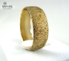 Thick Gold wedding band Hammered Wedding Band in by DINARjewelry, $624.00