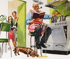 Dad Doing The Cooking - detail from 1948 USS Steel ad, art by Keith Ward.