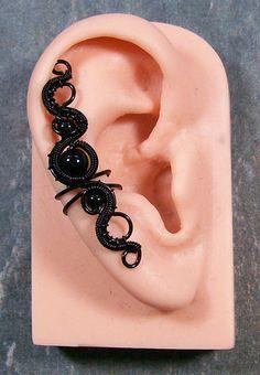 Gothic Onyx & Black Ear Cuff by HeatherJordanJewelry on Etsy, $19.99
