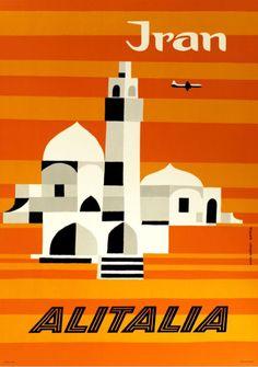 Vintage Travel Poster - Theheran - Iran - Middle-East - by Ennio Molinari, 1950.(AlItalia).