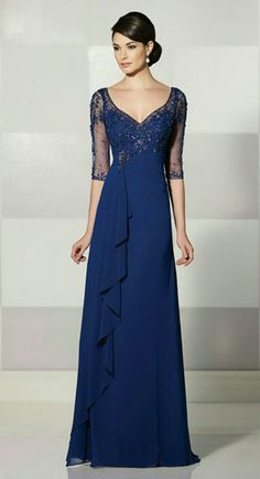 Wholesale Navy Blue Chiffon Long Sheath Evening Dresses With Sleeves Illusion Elegant Formal Mother Of The Bride Dress Mob Dresses, Dresses With Sleeves, Formal Dresses, Wedding Dresses, Half Sleeves, Dresses 2016, Party Dresses, Formal Wear, Hippie Dresses