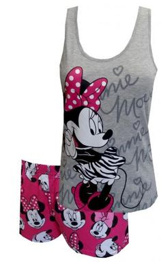 Disney Minnie Mouse Shortie Pajama Set, $25 Adorable! These pajama sets for juniors feature Disneys Minnie Mouse on a gray athletic style tank top. Co-ordinating elastic waist sleep shorts have an all-over print of the ever adorable Minnie Mouse. Machine washable and easy care. Junior cut. Super soft and great for sleeping or lounging.