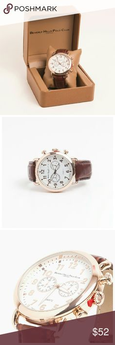 Beverly Hills Polo Club Classic Watch A sharp timepiece for a smart look. Beverly Hills Polo Club men's watch is a the perfect addition to a sophisticated style. Features: buckle clasp, white dial, three hand movement, , gold tone numerals, textured brown band. New in box Beverly Hills Polo Club Accessories Watches