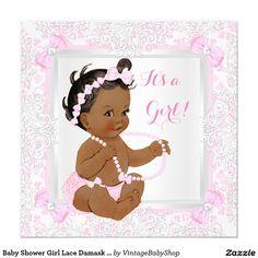 Baby Shower Girl Lace Damask Pink Ethnic Invitation