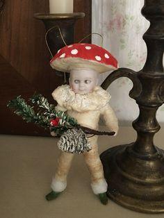 Wattefigur mit Porzellankopf, für Federbaum, JDL, Shabby,Vintage,handmade   eBay