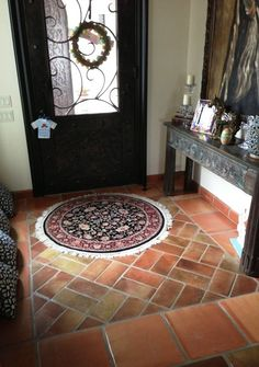 Get Saltillo Tile right from the source - Rustico Tile and Stone. We ship worldwide and offer discount prices for handmade Saltillo floor tile. Get a Quote. Kitchen Sink Diy, Kitchen Tiles, Spanish Flooring, Spanish Style Bathrooms, Quarry Tiles, Terracotta Floor, Painted Cupboards, Bathroom Color Schemes, Mediterranean Style Homes
