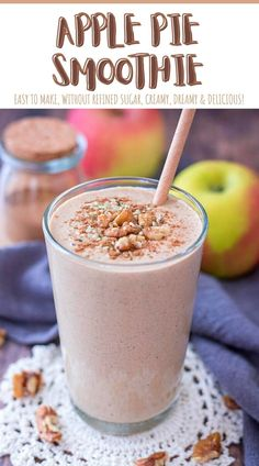 This Apple Pie Smoothie tastes just like real apple pie. It's sweet and extra delicious, filled with apple freshness and wonderful seasonal spices. ----- #smoothie #healthylifestyle #healthybreakfast #breakfast #breakfastideas #smoothierecipe #recipe #recipeideas #recipeoftheday #healthysmoothies #apple #appleseason #applesmoothie #breakfastsmoothie #smoothies #applepie #cinnamon Yummy Smoothies, Smoothie Recipes, Drink Recipes, Nutritious Smoothies, Cocktail Recipes, Dessert Recipes, Cocktails, Desserts, Apple Recipes