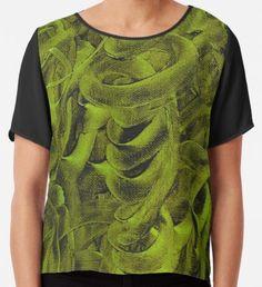 Pellucidar Abstract Sap Green  Chiffon Top Watercolor Circles, Watercolor Texture, Watercolor Pattern, Yellow Art, Green Art, Mermaid Art, Conceptual Art, Wearable Art, Chiffon Tops