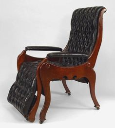 English Victorian tufted black leather adjustable reclining easy chair with footrest & African lion hunting spear /maasai / masai tribe | Hunting spear ... islam-shia.org