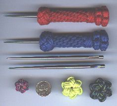 Ice pick or Marlinespike using star knots, Matthew Walker knot, crown sinnet, and footrope knots.