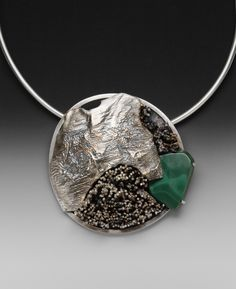 How Dense Can We Be?  Fabricated Sterling Silver and Malachite.  Social and Political Gorget Series