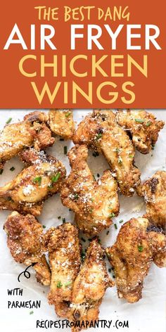 Crispy Easy Air Fryer Chicken Wings with Garlic Parmesan are a family friendly, crowd pleasing and healthy dish to serve as a snack, appetizer, at picnics and your next game day get together! Easily seasoned up with a dry rub of your choice these will become a go to eat. #airfryer #airfryerrecipes #airfried #airfryerchicken #airfryerchickenwings #chickenwings #chickenrecipes #gameday #snacks #wwrecipes #glutenfreerecipes #lowcarbrecipes #ketorecipes #lowcarb #keto #appetizer