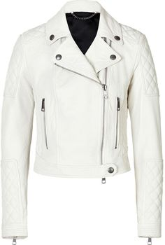 $1,395, Brit Cropped Leather Motorcycle Jacket In White by Burberry. Sold by STYLEBOP.com. Click for more info: http://lookastic.com/women/shop_items/24381/redirect