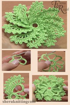 Crochet Spiral Flower 10 Petals Tutorial 54 - In this video you can find crochet flower pattern, crochetcrochet flower, crochet flowers patterns, - Crochet Leaves, Crochet Motifs, Freeform Crochet, Beau Crochet, Love Crochet, Crochet Gifts, Crochet Stars, Crochet Flower Tutorial, Crochet Flower Patterns