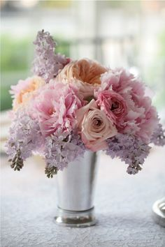 rose and lilac bouquet Wedding Centerpieces, Wedding Bouquets, Wedding Flowers, Wedding Decorations, Lilac Wedding, Purple Centerpiece, Centerpiece Ideas, Spring Wedding, Wedding Colors
