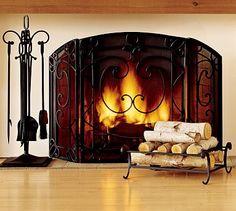 Aspen Triple Screen Fireplace Collection #potterybarn