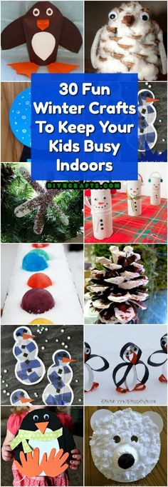 30 Fun Winter Crafts To Keep Your Kids Busy Indoors When It's Cold Outside via @vanessacrafting