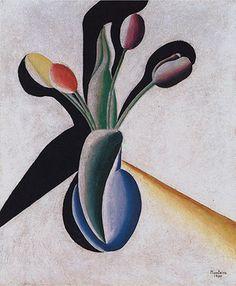 Vaso de Flores [Vase of Flowers] [Vase of Flowers] [Vaso com Tulipas] [Vaso com Tulipas] 1930   Vicente do Rego Monteiro óleo sobre tela, c.i.d. 46.00 x 38.20 cm