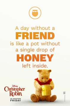 Wise words from Winnie the Pooh. See Disney's Christopher Robin in theatres August Wise words from Winnie the Pooh. See Disney's Christopher Robin in theatres August Pooh Winnie, Winnie The Pooh Quotes, Winnie The Pooh Friends, Winnie The Pooh Videos, Childhood Friends Quotes, Piglet Quotes, Teddy Bear Quotes, Real Friends, Disney Christopher Robin