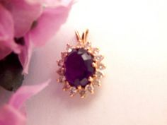 Amethyst and Diamond Pendant 14k Yellow Gold Vintage Fine Jewelry Oval Solitaire with Accents Regal Elegant Purple Gemstone