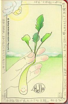 2014_04_19_daikon_01_s I found a unique vegetable!  for this drawing I used :  Faber castell polychromos Karisma color Moleskine sketchbook  © Belta(WAKABAYASHI Mayumi )