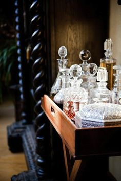 Having a bar cart around can help you organize beverage and food. By definition a bar cart is usually a … Bar Cart Essentials, Crystal Decanter, Bar Areas, Liquor Bottles, Perfume Bottles, Bar Set, Bars For Home, Whisky, Entertaining
