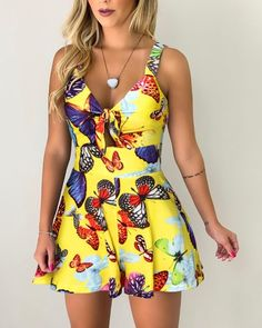 Tied Detail Butterfly Print Romper trendiest dresses for any occasions, including wedding gowns, special event dresses, accessories and women clothing. Cute Summer Rompers, Backless Playsuit, Two Piece Rompers, Romper Outfit, Playsuit Romper, Moda Chic, Butterfly Print, Rompers Women, Trendy Dresses