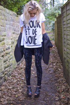 actually love velvet leggings and slogan tees!